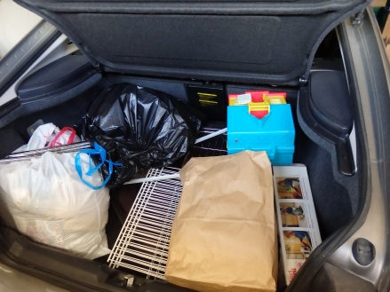 Filled trunk for Goodwill